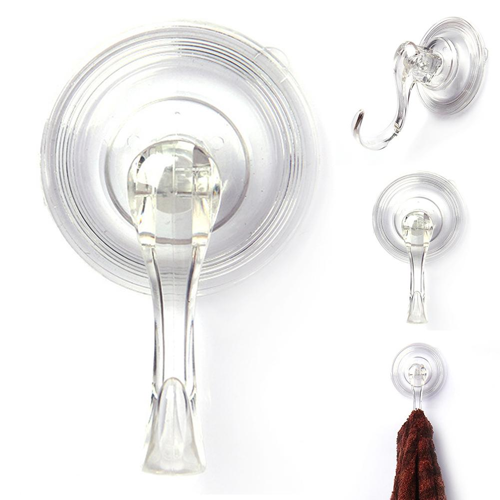 4Pcs Wall Hanger Hook Suction Cup Transparent Removable Glass Suckers Hanging Home Storage Clothes Towel Holder