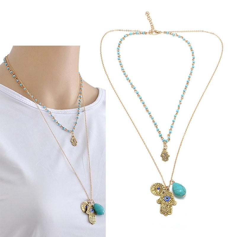 Double Layers Beads Turquoise Hamsa Fatima Hand Blue Evil Eye Pendant Necklace for Women Car Ornaments