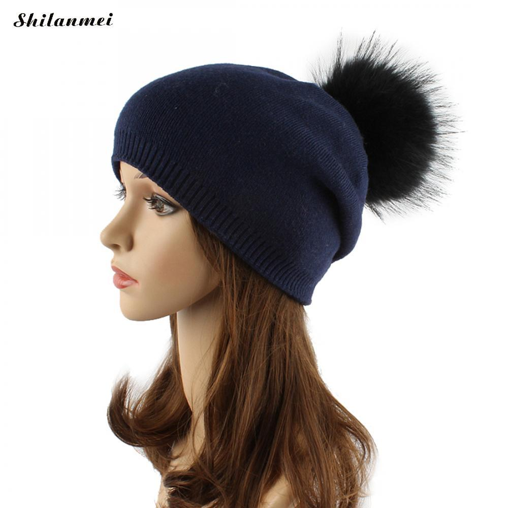 24a846381654c Winter Women Real Fur Pom Pom Hats Wool Knitted Thick Warm Lined Beanies Hat  Lady Fashion Bobble Ski Caps Cowboy Hats Stetson Hats From Vintage66, ...