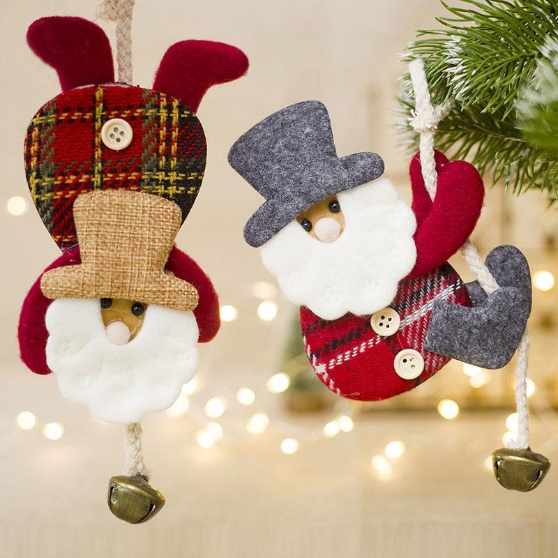 e8017528128 Compre 1 Unid Decoraciones De Navidad Accesorios Colgando Campanas Muñecas Decoración  Para El Hogar Árbol De Navidad Lindo Papá Noel Forma Colgantes Envío ...