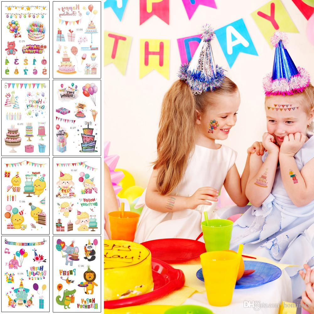 Happy Birthday Temporary Tattoo Sticker for Kid Cute Balloon Cake Gift Cap Body Face Neck Arm Art Design Lovely Small Colored Tattoo Holiday