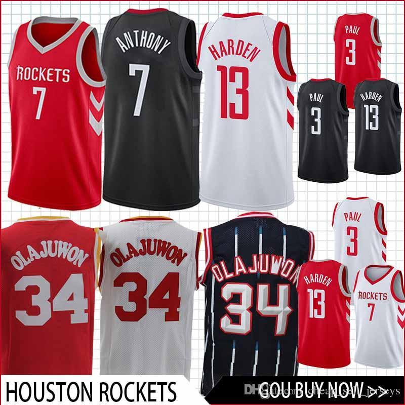 designer fashion d91f7 972b9 3 Paul 13 Harden Rockets Jersey 34 OLAJUWON basketball Jersey men fans  clothes printed TOP QUALITY