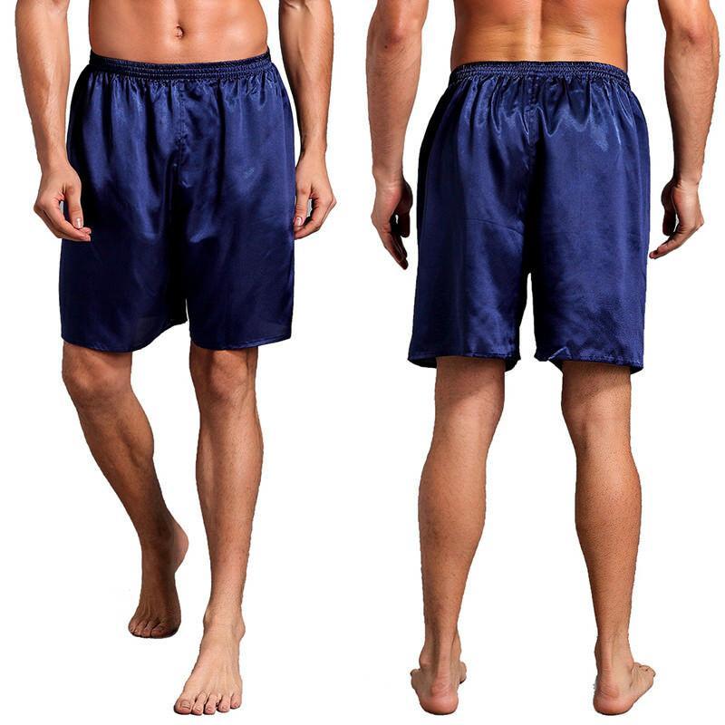 Artı boyutu Mens İpek Saten Pijama Şort Pijama Loungewear Pijama