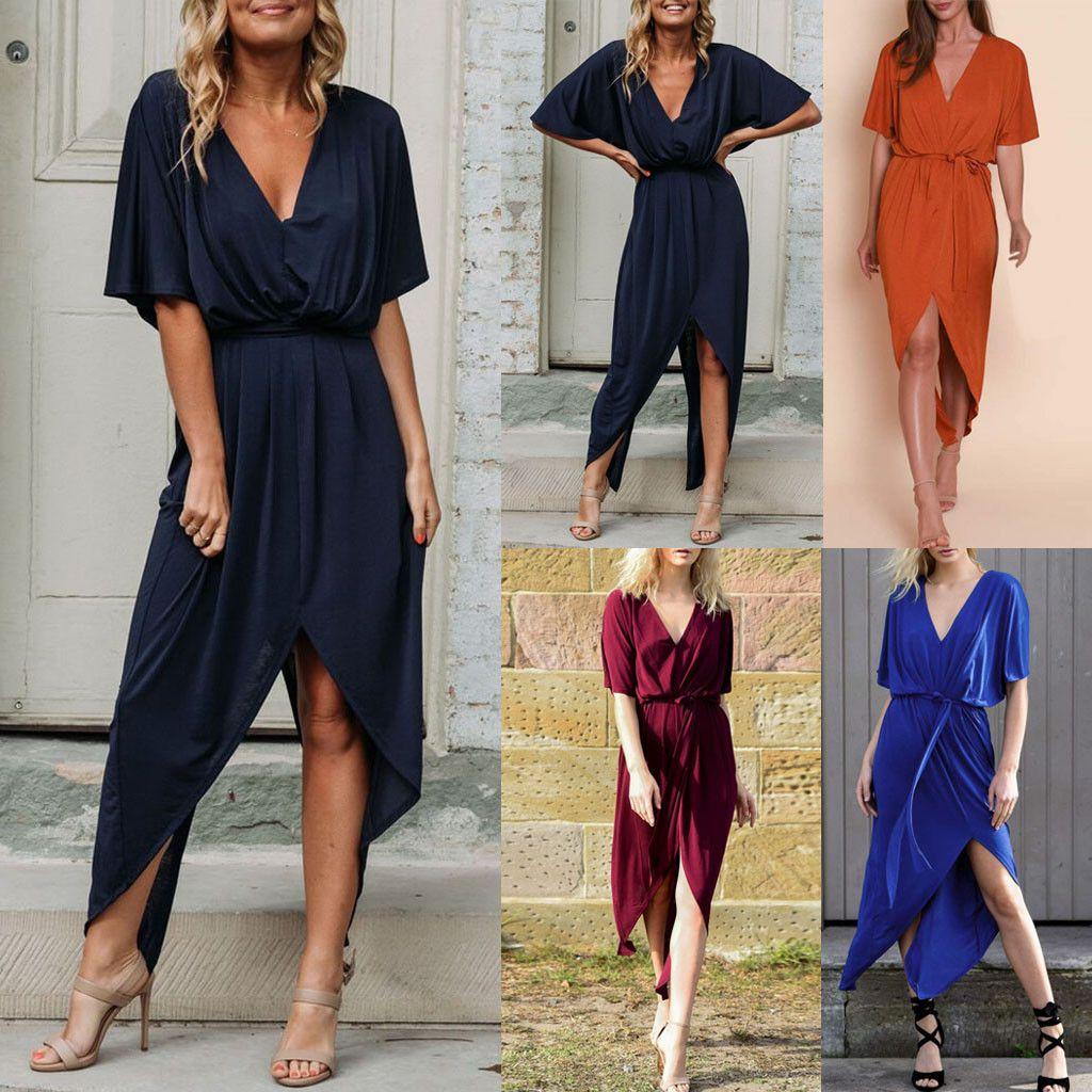 69f6da1142976 Feitong 2019 Summer Dresses Sexy Women Boho Split V Neck Solid Short Sleeve  Long Evening Party Dress With Belt Vestidos C19042001