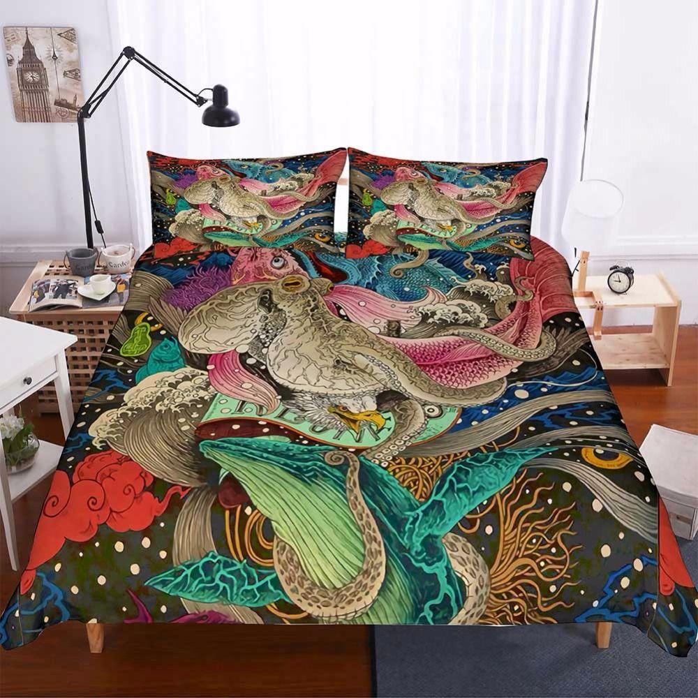 Gothic Octopus Pattern Designer Bettwäsche Sets Bettbezug Set Schädelbett Set King Size Bettwäsche Bettbezug F