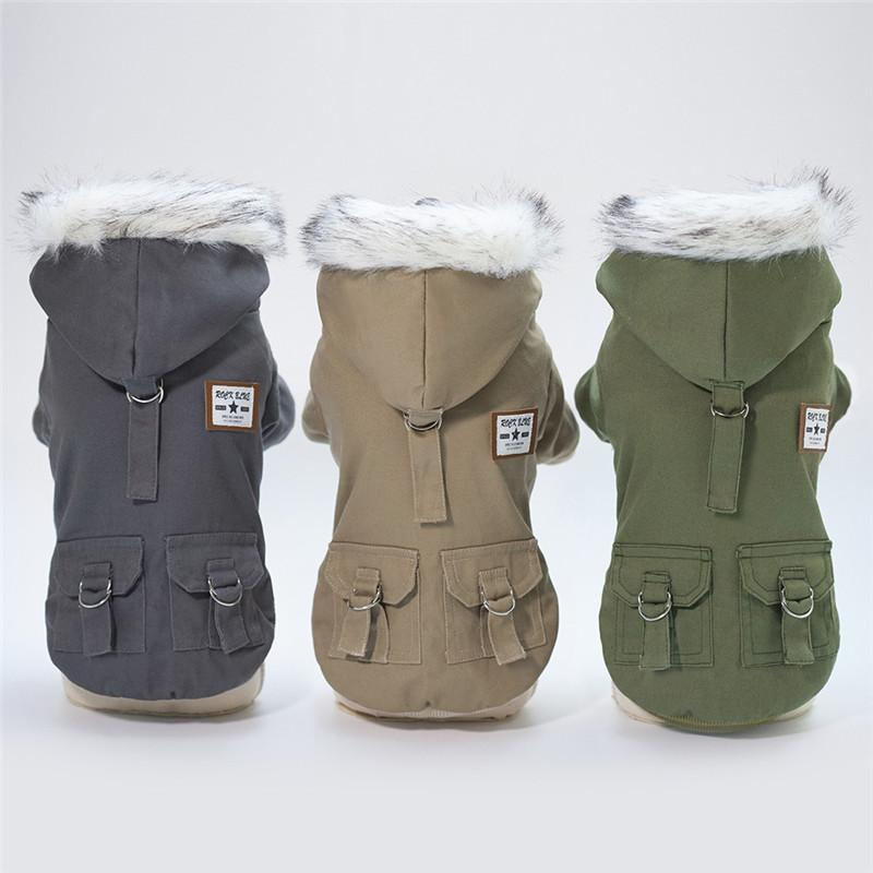 Dog Clothes For Small Dogs Autumn Winter Puppy Pet Dog Hooded Coat Jacket Warm Fleece Chihuahua French Bulldog Clothing Overalls