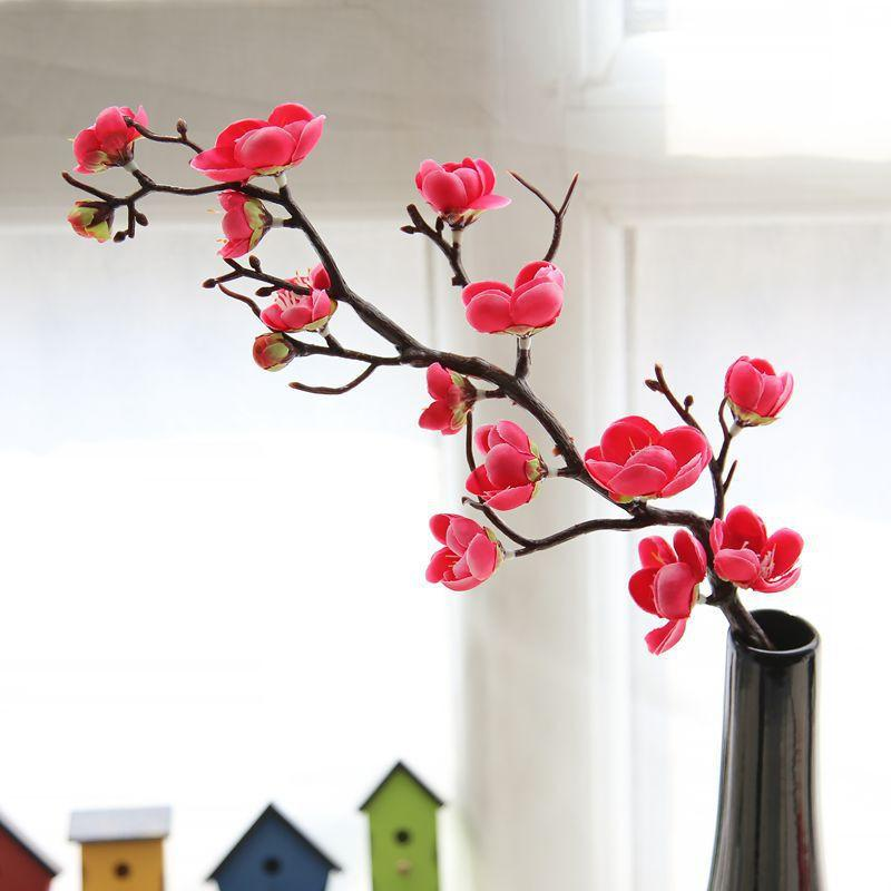 Artificial Flowers Cherry Spring Plum Peach Blossom 60cm Silk Flowers Bouquet Artificial Dried for Wedding Fake