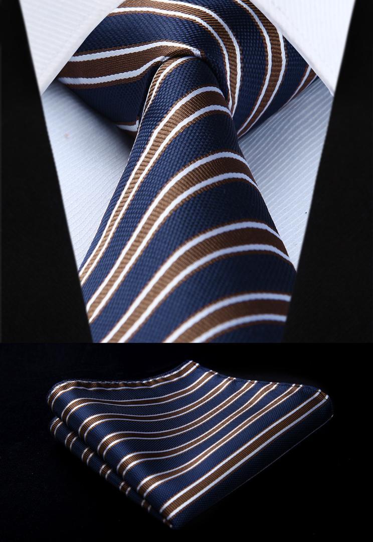 a467ed94ec03 Woven Classic Tie Necktie Blue Brown Striped 3.4 Silk Tie Party ...