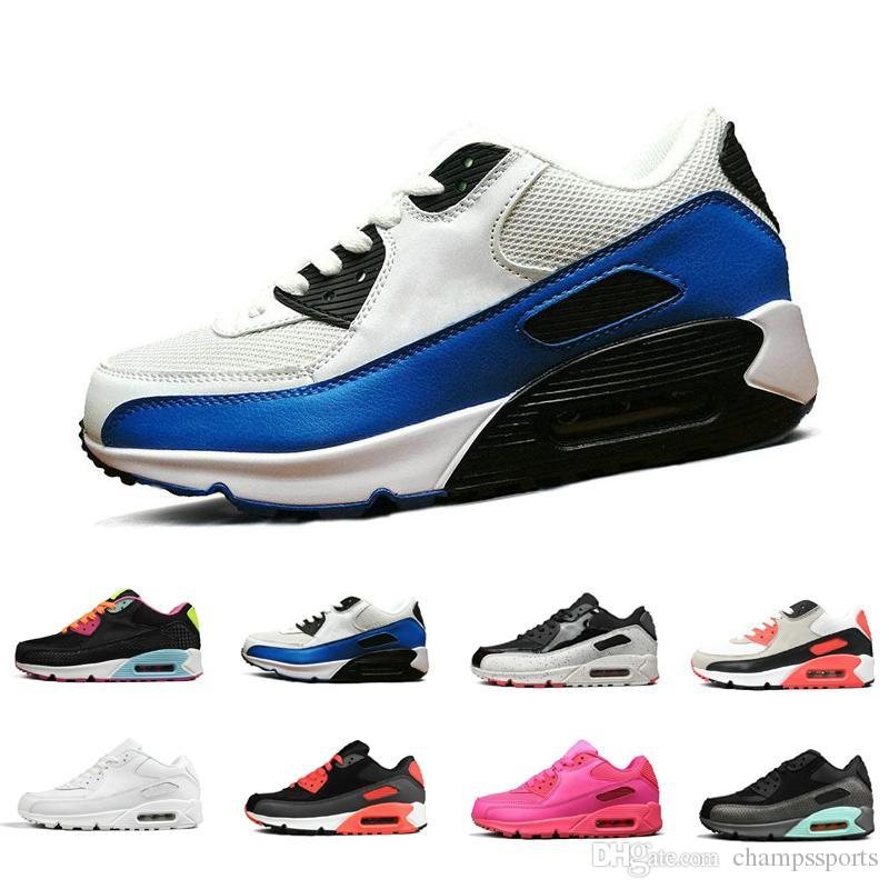 Classic New Arrival Mens Womens AIR Cushion 90 Essential Breathable Running Shoes Sneakers Sport Outdoor Shock absorbing Non slip 36 45