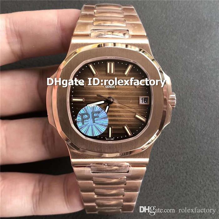 Top Luxury 5711 Mens Watch 18K Rose Gold Chocolate Dial Swiss 324SC Automatic 28800bph Sapphire Crystal transparent case back Watches