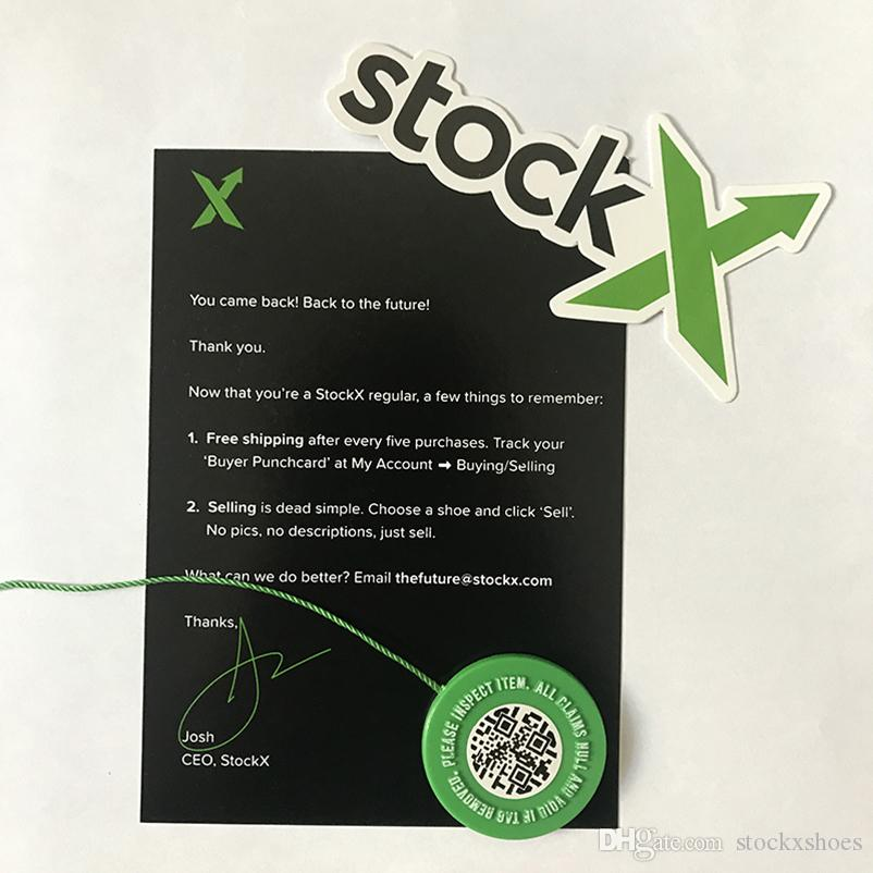 6e4a99afe03c7a 2019 2019 In Stock X Green Circular Tag Rcode Stickers Flyer Plastic Shoe  Buckle StockX Verified X Authentic Green Tag Wholesale Retail From  Stockxshoes