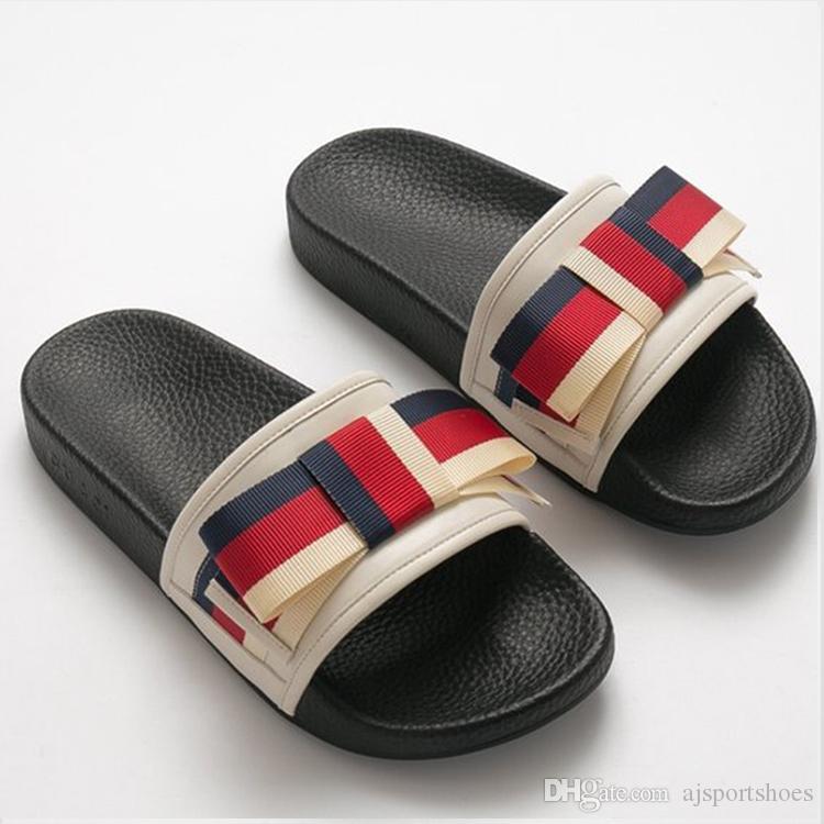 4d868ca87dc Italy Luxury Brand Bow Tie Striped Belt Brand Designer Slippers ...