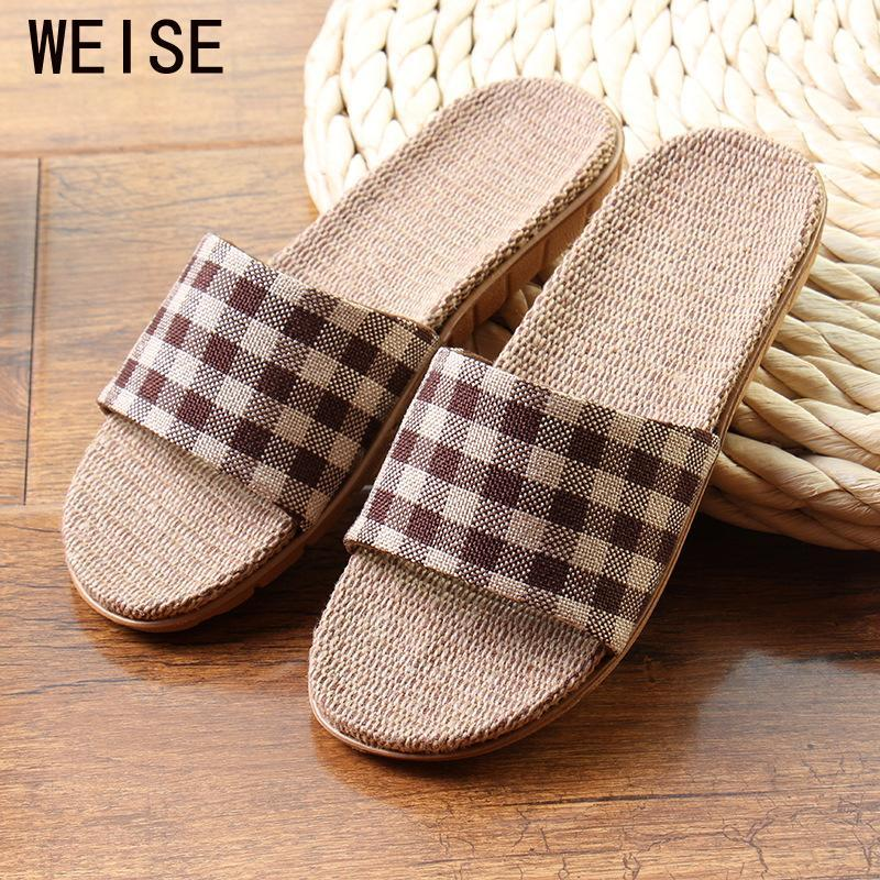 bca953fb547 High Quality Cool Summer Linen Home Slippers Unisex Women Men Slippers EVA  Plaid Print Floor House Shoes Men Plus Size 35 45 Moccasins Thigh High  Boots From ...