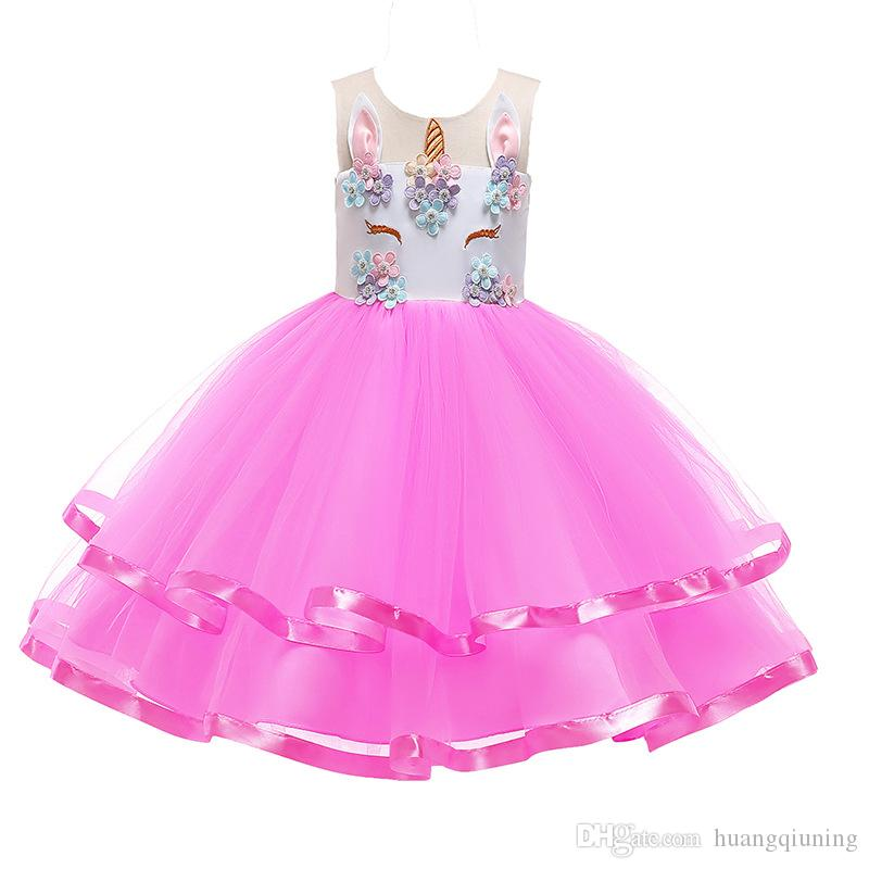Fancy Unicorn Children Dress Evening Party Dresses Summer 2019 Kids Clothes for Girls Embroidery Flower Girl Birthday Costume 8T
