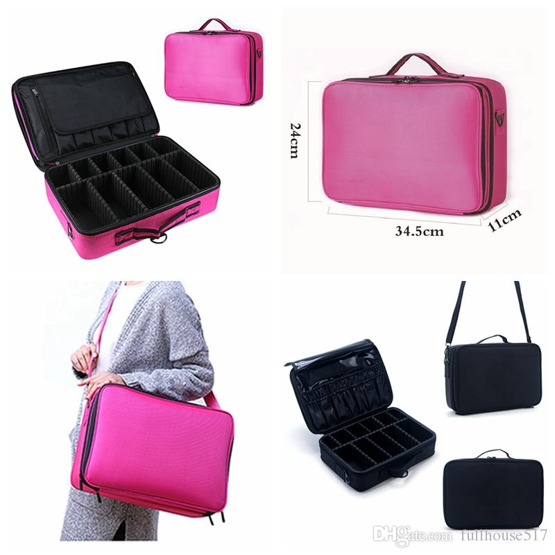 714653f41092 3 Layer Makeup Train Case Cosmetic Organizer Travel Cosmetic Bags ...