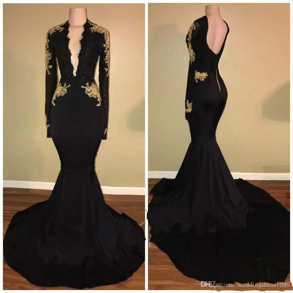 Fashion Deep V-Neck Mermaid Black Prom Dresses Gold Appliques 2019 Long Sleeve Pageant Arabic Dubai Formal Long Party Gowns Evening Dress