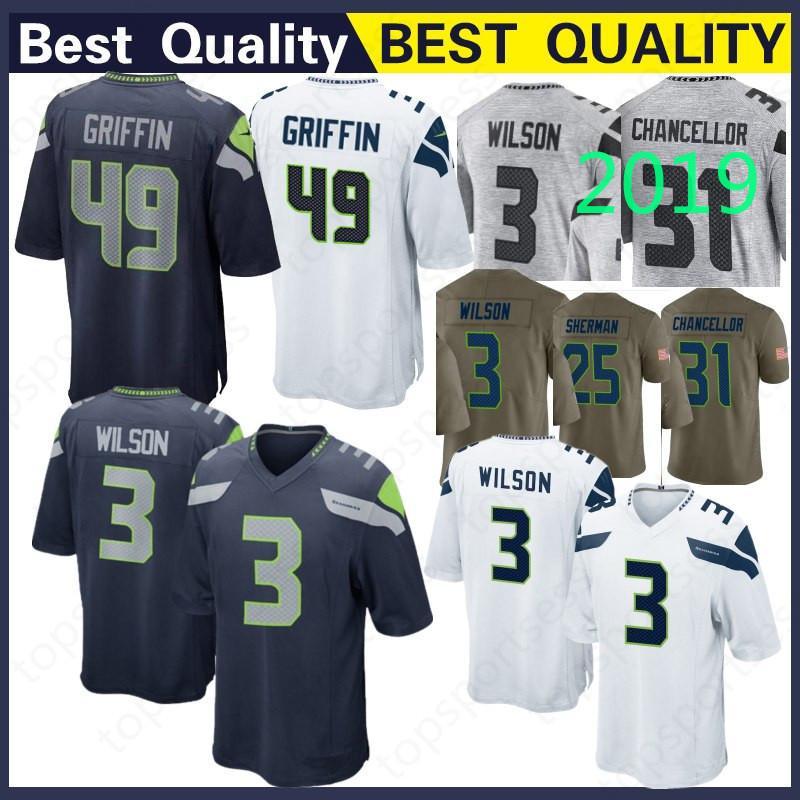 Football Jersey Russell Wilson Seattle Seahawks New #3