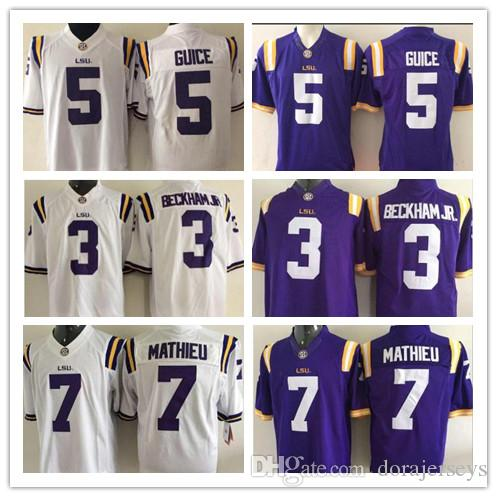 watch 9fd48 eb3d1 NCAA College LSU Tigers Odell Beckham Jr. Hot Sell Jersey 7 Leonard  Fournette Tyrann Mathieu Patrick Peterson Derrius Guice Football Jerseys