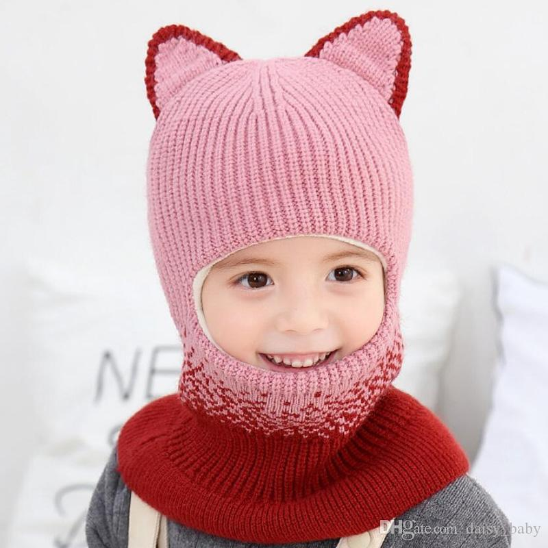 2019 New Knitted Beanie Hooded Scarf Kid Hat And Scarf Child Winter Warm Short Plush Ear Cap Circulal Scarves Girl Accessories MZ8349