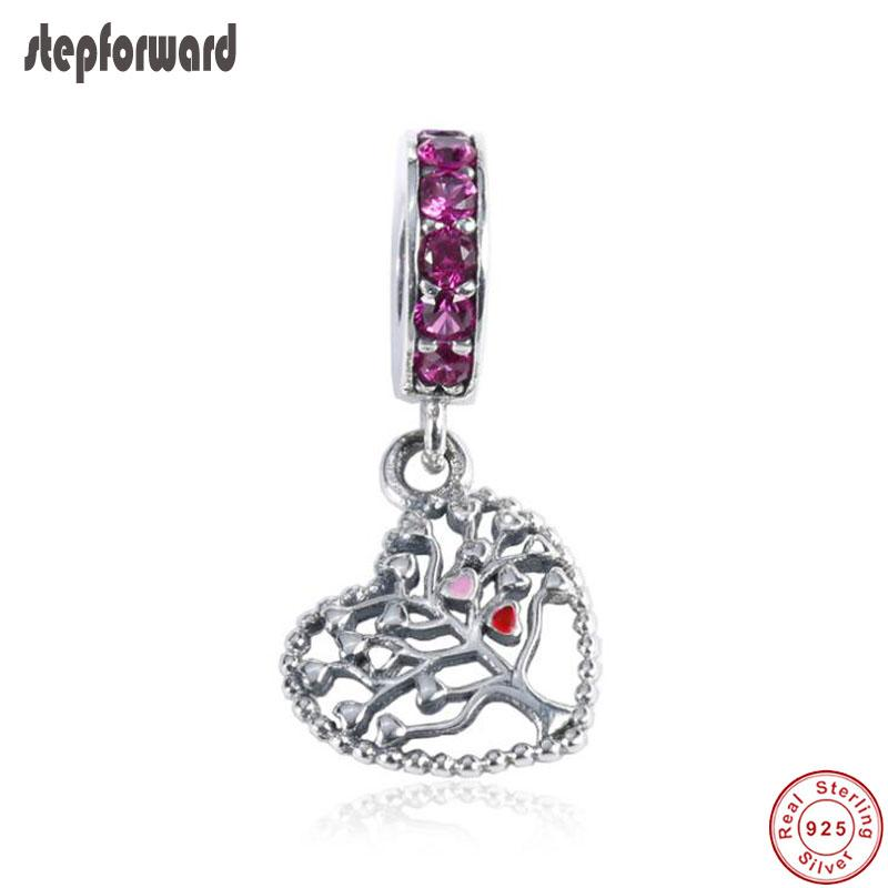 Popular Buena Calidad Love Heart Theme 925 Real Silver Lift Heart Heart Hanging Charm Fit Pulsera