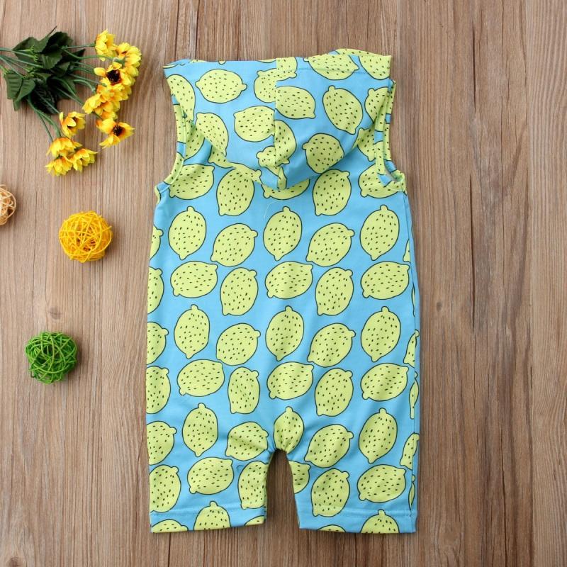 Nouveau-né bébé layette manches Romper Jumpsuit Combishort Tenues bébé citron vert imprimé manches