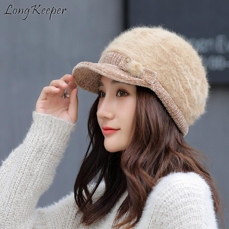 Long Keeper Beret Hat Cap Women Knitted Rabbit Fur Blend Beanies Headdress  Headgear Autumn Winter Fashion Thick Warm Party Dance Beanie Boo Trucker  Hats ... 20a1d8f84d9c