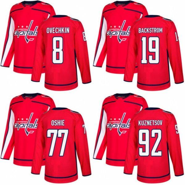 Compre Washington Capitals 8 Alex Ovechkin Jersey 19 Nicklas Backstrom 77  T.J Oshie Ice 92 Evgeny Kuznetsov Camisetas De Hockey Cosidas A  20.87 Del  ... 4160f5686c195