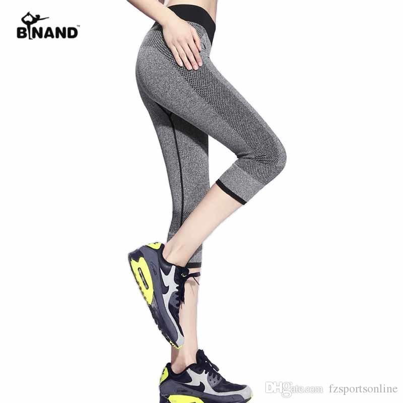 83d49e4446 2019 Women Breathable Quick Dry Sports Pants Leggings Workout Fitness  Elastic Capris Gym Mid Waist Leggings Running Trousers Pants #329458 From  ...