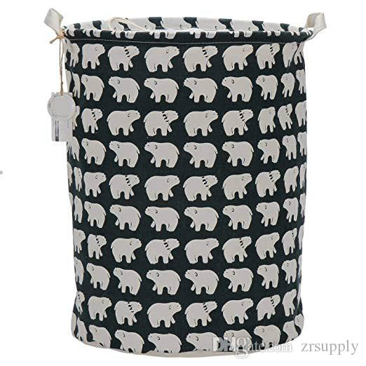 Laundry Basket Bin Foldable Cotton Linen Basket with Handles Cloth Storage Bucket Pet Organizer Nursery Hampers (Polar Bear) Stock in USA
