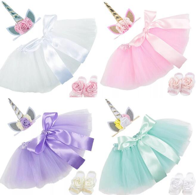 47e7b1292869 unicorn baby Dress Suits 3pcs/set birthday Infant Girls Outfits unicorn  floral Headbands+ Tutu Skirts + Flower shoes Newborn Clothing BY0273