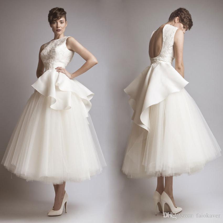 Krikor Jabotian White Prom Dresses Jewel Neck Hollow Back Teal Length A Line Elegant Evening Dress Custom Made Cocktail Party Gowns