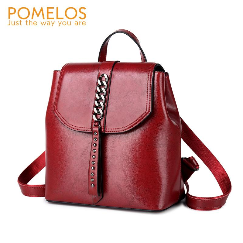 a237719b12 POMELOS Genuine Leather Women Backpack High Quality Urban Fashion Backpack  School Bags For Teenage Girls Small Women Messenger Bags Leather Backpack  From ...