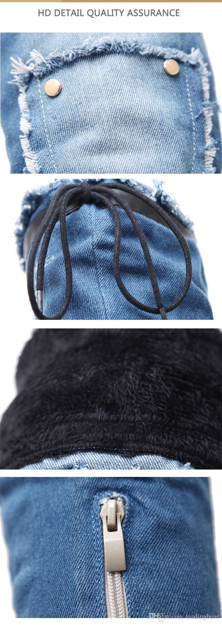 Diz Üzeri Seksi Kadınlar Denim Blue İnce Yüksek Topuk Uyluk Yüksek Boots Kış Parti Gece Kulübü 40 için Boyutu 34 Wear