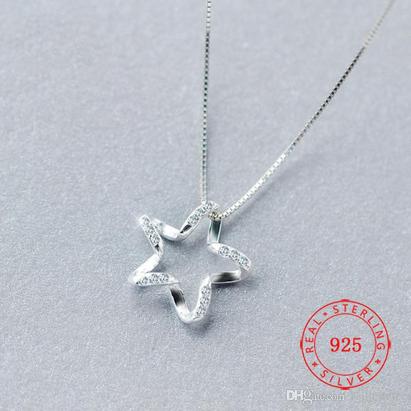 China Luxury 925 Sterling Silver Zircon Crystal Star Necklaces Pendant Hot Sale Pure Silver Jewelry for Women Jewelry Gift Not Include Chain