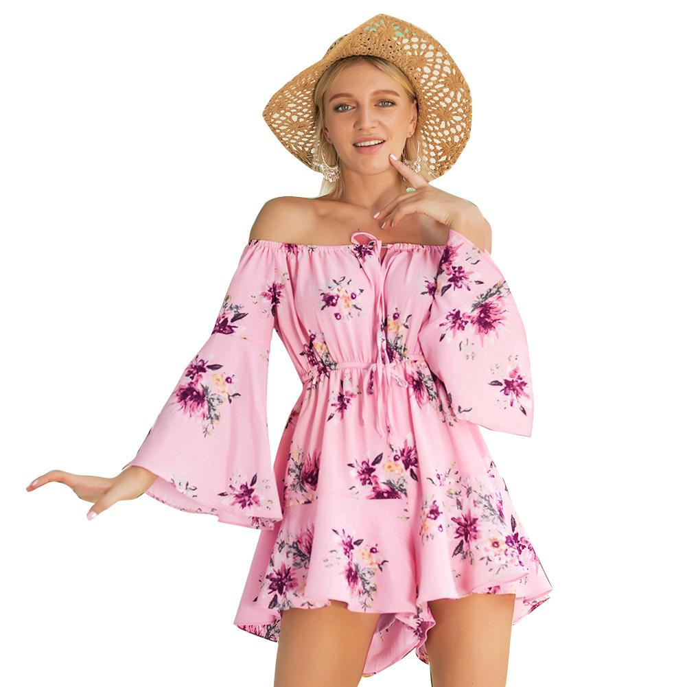 aea0e895c26 2019 Fashion Women Floral Off Shoulder Rompers Womens Short Jumpsuit Flared  Sleeve Elastic Waist Boho Vacation Playsuit Overalls Pink From Feeling02