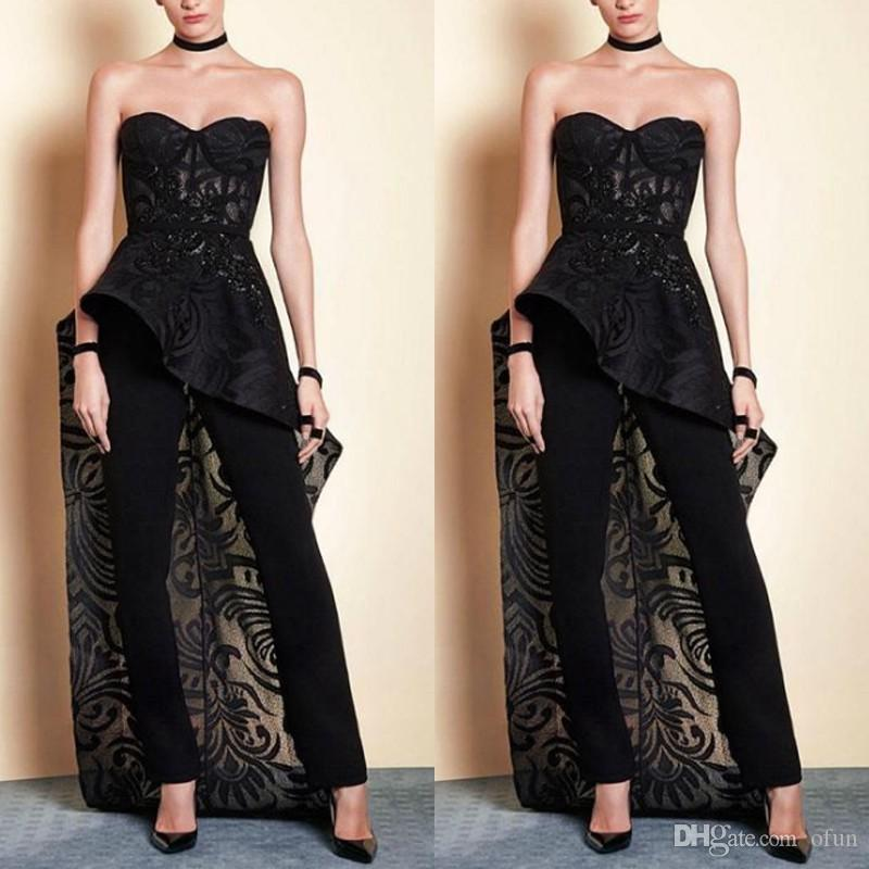 e8b7094784 2019 Sexy Black Detachable Jumpsuits Prom Dress Elegant Lace Appliques  Strapless Zipper Evening Party Gown Chiffon Formal Dress Princess Prom  Dress Prom ...