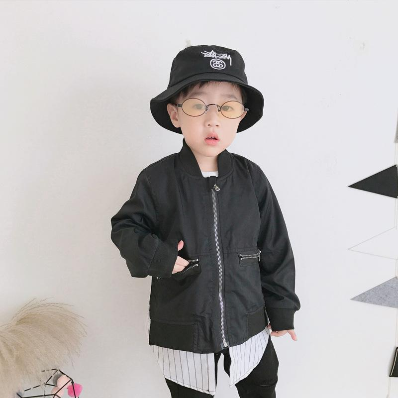33025d64c71 Boy Jacket 2018 Spring Children S Clothing Casual Top In The Long Section  Fake Two Korean Splice Stripe Zipper Cotton Kids Coat Rain Jacket For Boys  Kid ...