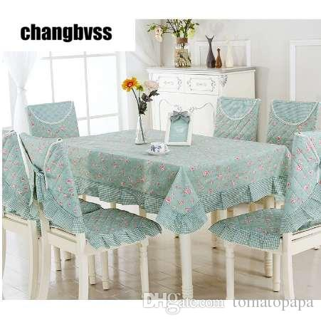 3bdbc62f9bd Spring Style Green Table Cloth 9pcs set Chair Mat+Chair Cover+Tablecloth Set  Home Party Wedding Tablecloth toalha de mesa