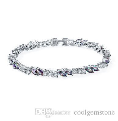 Wholesale Valentine Day Gift Fire Eye Shape Mystic Topaz Crystal Gemstone 925 Sterling Silver Bracelet Bangle Russia Bracelet Jewelry