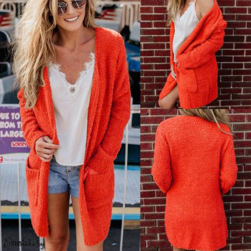 07eb6d20a747e 2019 2019 New Winter Orange Sweater Coat Women Furry Coat Baggy Cardigan  Tops Chunky Fluffy Sweater Jumper With Pocket From Harrvey