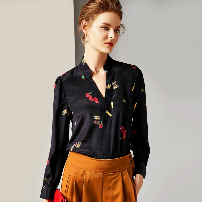 5ca7754cb59549 2019 100% Pure Silk Women s Runway Shirts Sexy V Neck Long Sleeves Cartoons  Printed Elegant Shirt Blouse Runway Dresses Elegant Shirts Fashion Blouse  Online ...