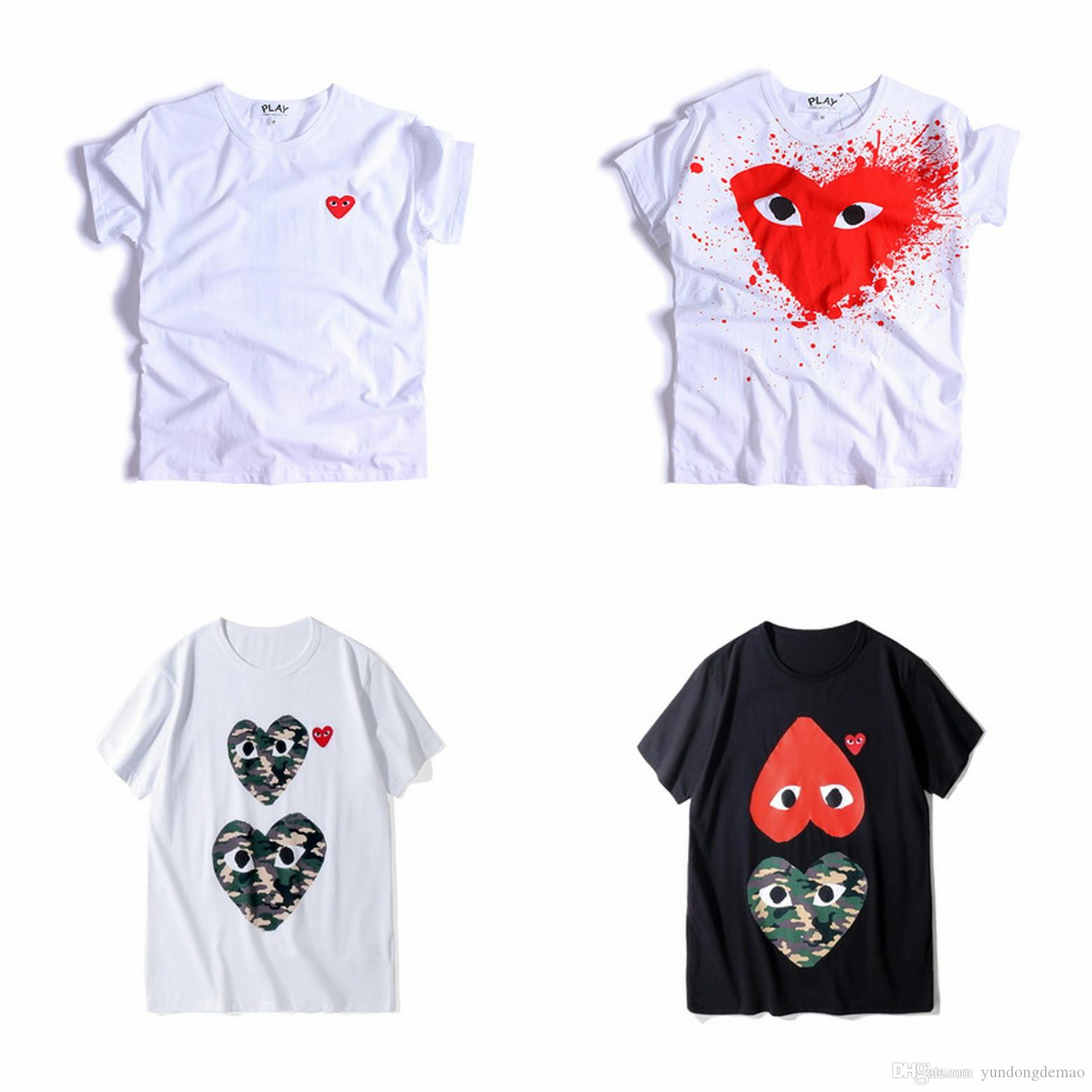 Lover COM Best Quality Men Women CommeS Grey DES play GARCONS CDG Embroidered Double Heart short Sleeve T-shirts Embroidery Red Heart Tee