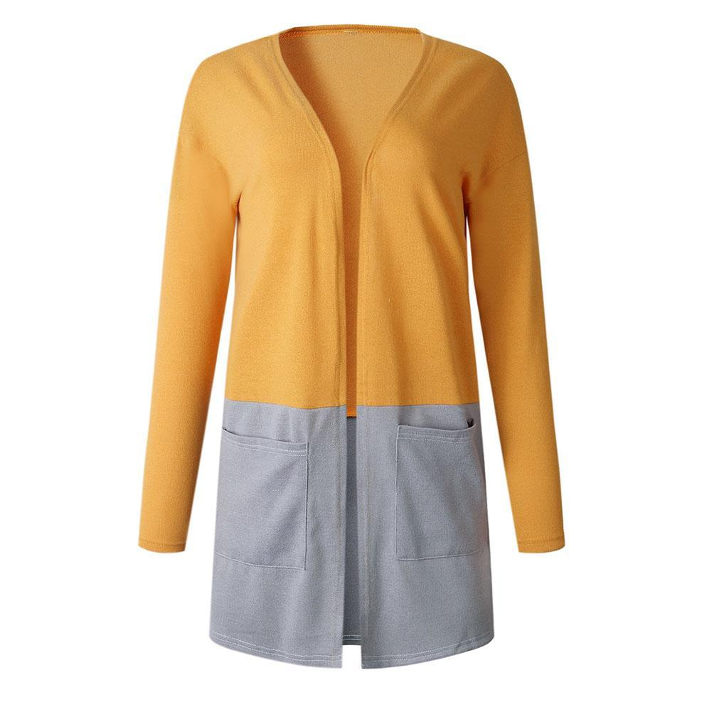 52f51a68ac 2019 Autumn Color Block Long Sleeve Cardigan Lady Casual Open Front Coat  With Pockets New From Regine