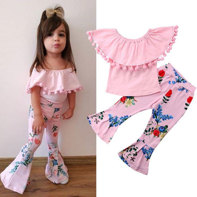 Mother & Kids Toddler Clothing Summer Clothes For Girls Floral Outfits Short Sleeve Top Flared Pants Casual Girls 2 Piece Set Kids Clothes Set