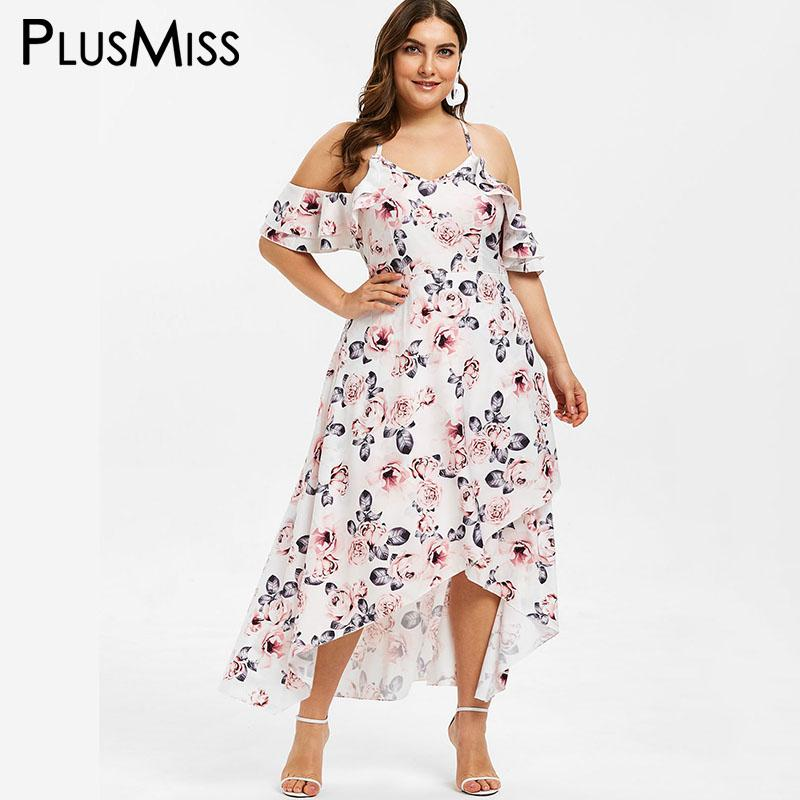 1774be1f483 PlusMiss Plus Size 5XL Cold Shoulder Floral Printed Maxi Long Dress Women  XXXXL XXXL Big Size Ruffle Beach Boho Tropical Dresses Black Party Dresses  Black ...