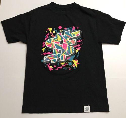 82213011b SF CLOTHING T SHIRT LARGE BLACK 1980's STYLE NEON GRAPHIC TEE DO 2018 New  Short Sleeve Men 100% Cotton Family Top Tee Funny T Shirts Prints Funky T  Shirt ...