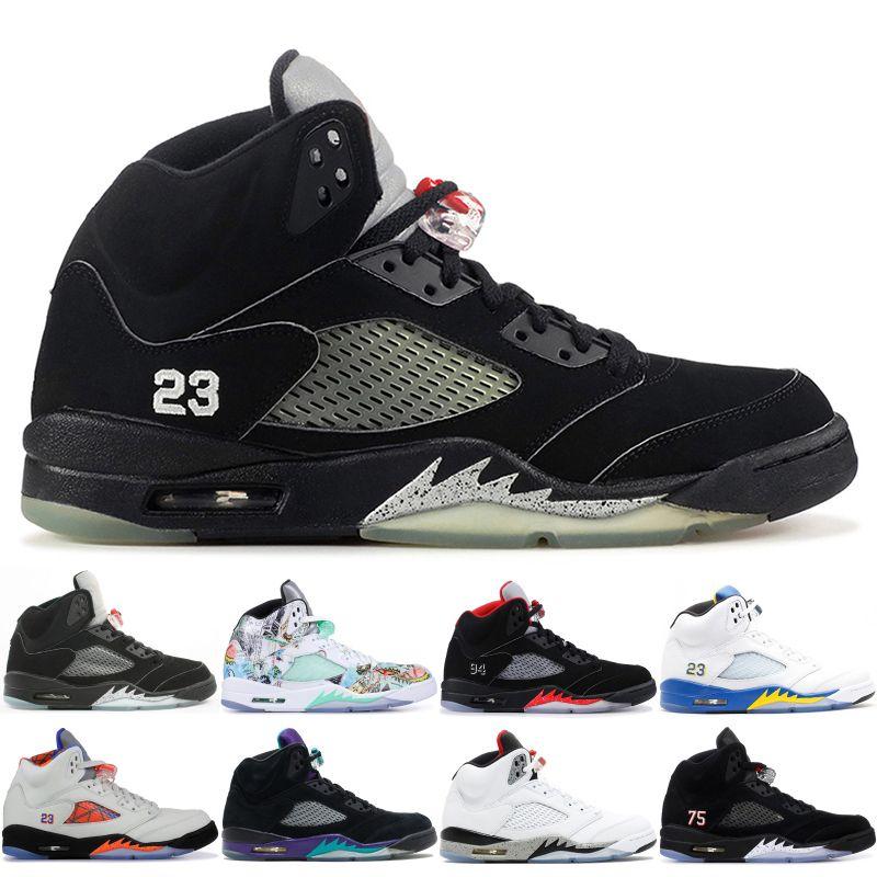 low priced 95e36 6daff Acquista NIKE Air Jordan 5 New Classic 5 5s V OG Nero Metallizzato Oro  Bianco Cemento Scarpe Da Basket Uomo Blu Pelle Scamosciata Olimpica  Metallizzata ...
