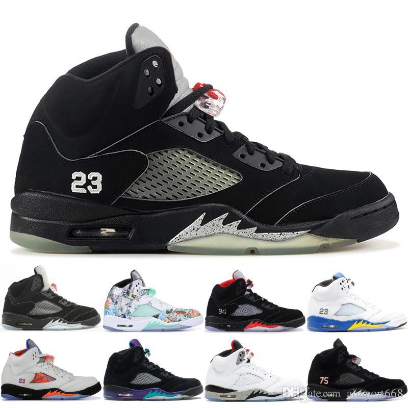 sports shoes 1f1a4 56e6e Acheter NIKE Air Jordan 5 New Classic 5 5s V OG Noir Métallisé Or Blanc  Ciment Chaussures De Basketball Pour Hommes Bleu En Daim Olympique  Métallisé Feu ...