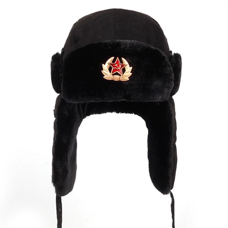 eeb700a0576bc Soviet Army Military Badge Russia Ushanka Bomber Hats Pilot Trapper Aviator Cap  Winter Faux Rabbit Fur Earflap Snow Caps Hat D19011503 Beanie Kids Skull ...