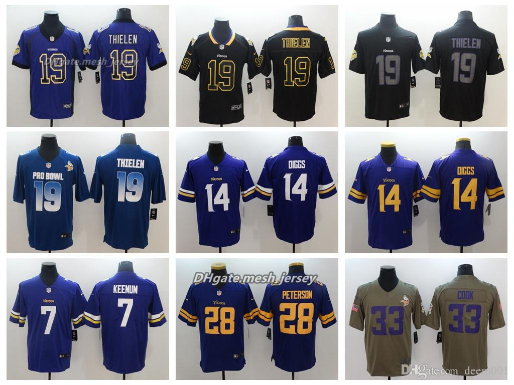 c0aaf13516 Compre Hombres Minnesota Jersey Vikings 19 Adam Thielen 14 Stefon Diggs 33  Dalvin Cook 28 Adrian Peterson 7Case Keenum Color Rush Camisetas De Fútbol  A ...